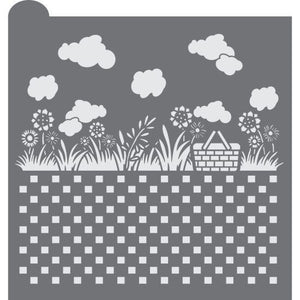 Summer Picnic Prettier Plaques Background Cookie Stencil