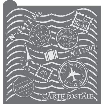 Bon Voyage Prettier Plaques Background Cookie Stencil