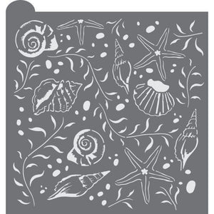 Seashells Prettier Plaques Background Cookie Stencil