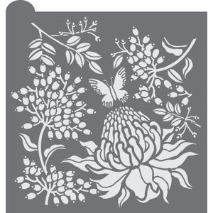 Vintage Flora Prettier Plaques Background Cookie Stencil