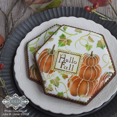 Pumpkin Patch Prettier Plaques 5-Piece Cookie Stencil Set by Julia Usher