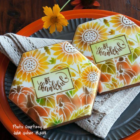 Autumn Harvest Prettier Plaques Cookie Stencil Set 5 Pc by Julia Usher