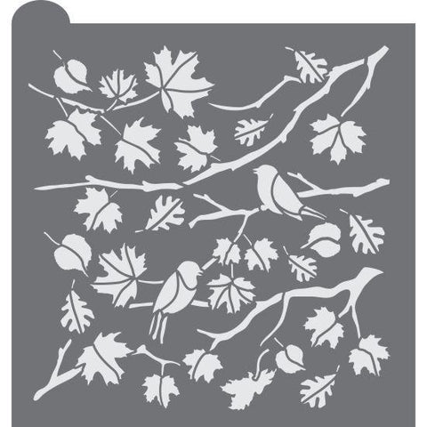 Fall Foliage Prettier Plaques Background Stencil by Julia Usher
