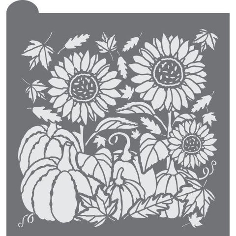 Autumn Harvest Prettier Plaques Background Cookie Stencil by Julia Usher