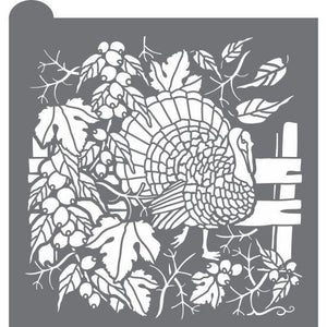 Woodland Turkey Prettier Plaques™ Background Stencil by Julia Usher