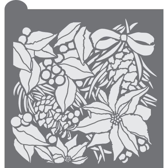Winter Botanica Prettier Plaques™ Background Stencil by Julia Usher