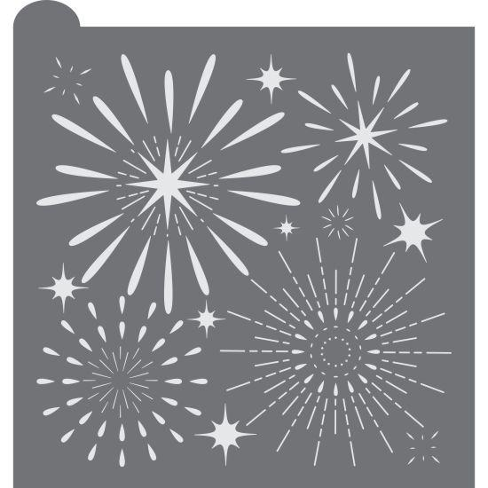 fireworks display prettier plaque background cookie stencil