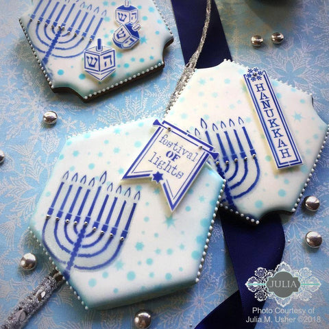 Happy Hanukkah Dynamic Duos 7 Piece Message and Frame Set by Julia Usher