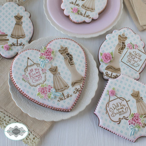 Bridal Party Dynamic Duos Cookie Stencil Set includes SJU0276 & SJU0277