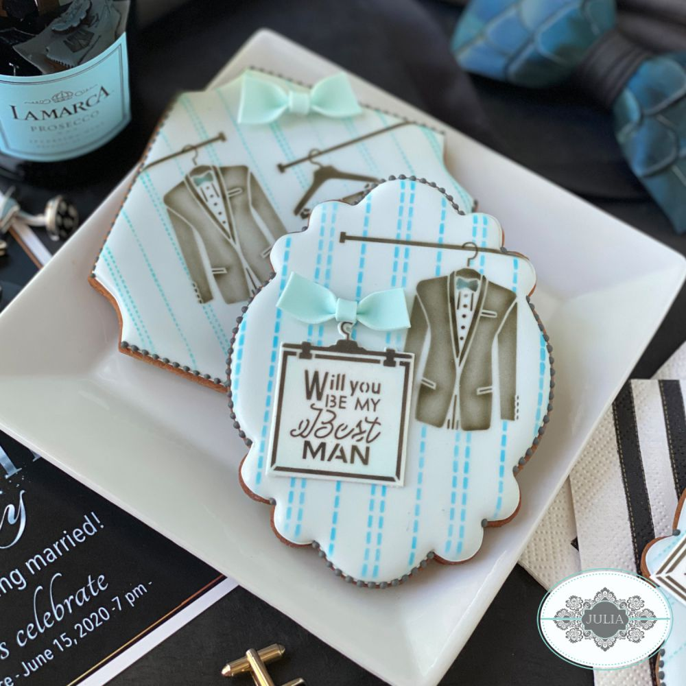 Groomsman Dynamic Duos Cookie Stencil Set