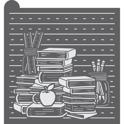 School Books Dynamic Duos Background Cookie Stencil