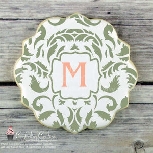 Acanthus Monogram Background Cookie Stencil Background