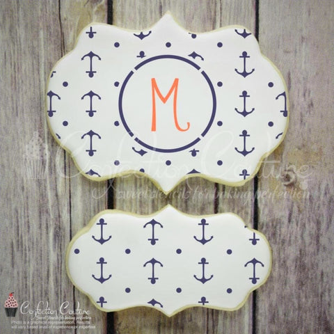 Anchors Monogram Background Cookie Stencil Background