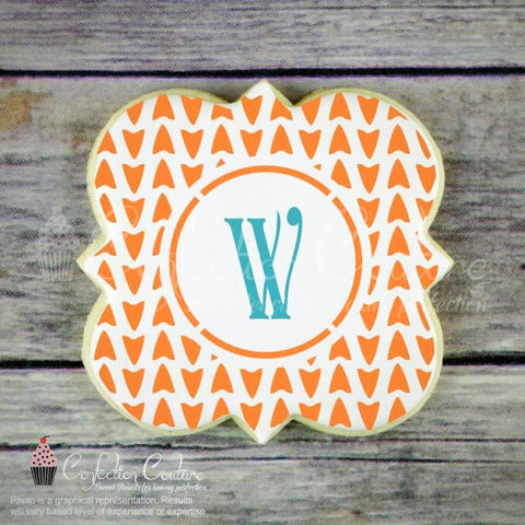 Arrowhead Monogram Background Cookie Stencil Background