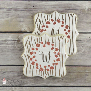Autumn Maple Monogram Background Cookie Stencil Background