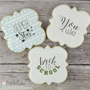 Back To School Basic Words Cookie Stencil Background