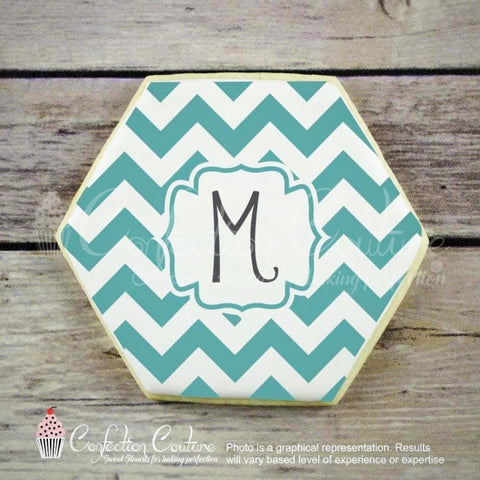 Chevron Monogram Background Cookie Stencil Background