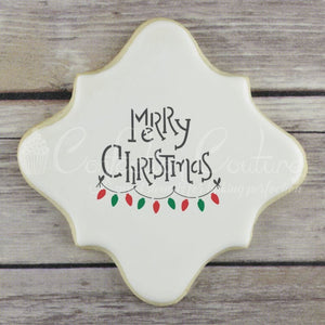 Christmas Greetings Words Cookie Stencil Words