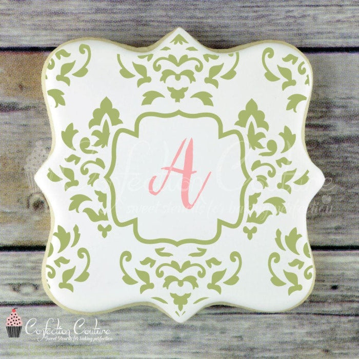 Damask Monogram Background Cookie Stencil Background