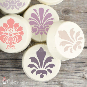 Damask Round Cookie Stencil 3 Piece Set 2 Inch