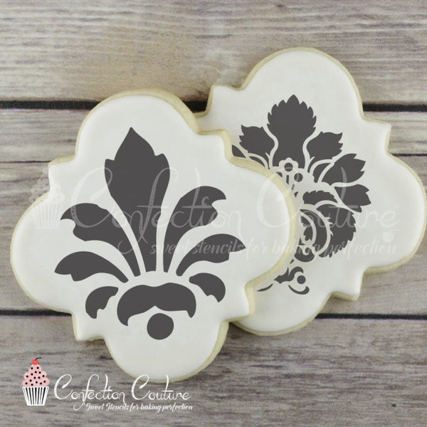 Damask Round Cookie Stencil 3 Piece Set Inch