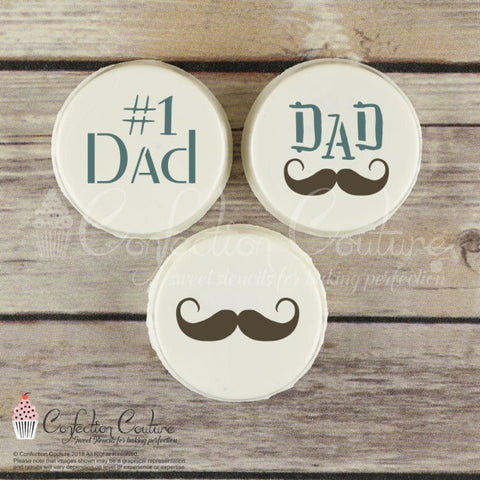 Fathers Day Round Cookie Stencil 3 Piece Set