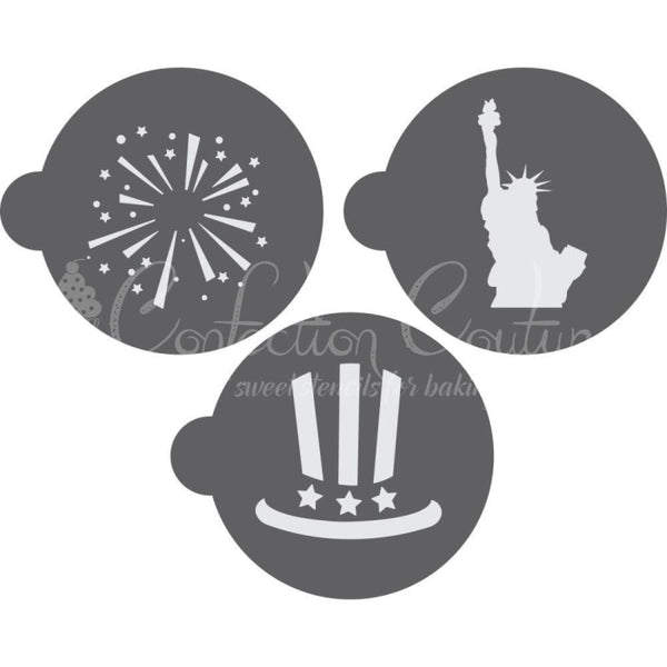 Fireworks Round Cookie Stencil 3 Pc Set