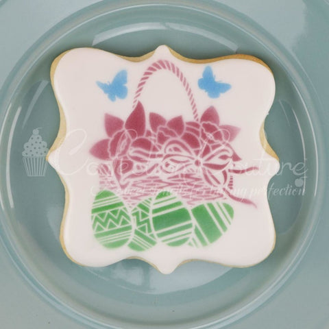 Floral Easter Basket Accent Cookie Stencil Accent