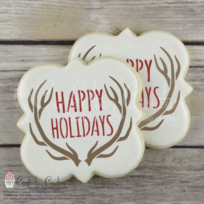 Happy Holidays Message Cookie Stencil Words