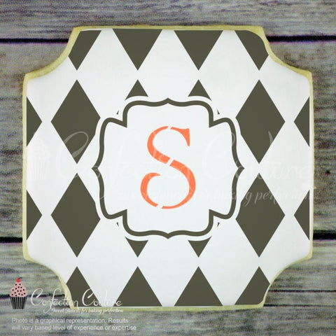 Harlequin Monogram Background Cookie Stencil Background