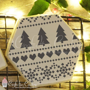 Holiday Fair Isle Background Cookie Stencil Background