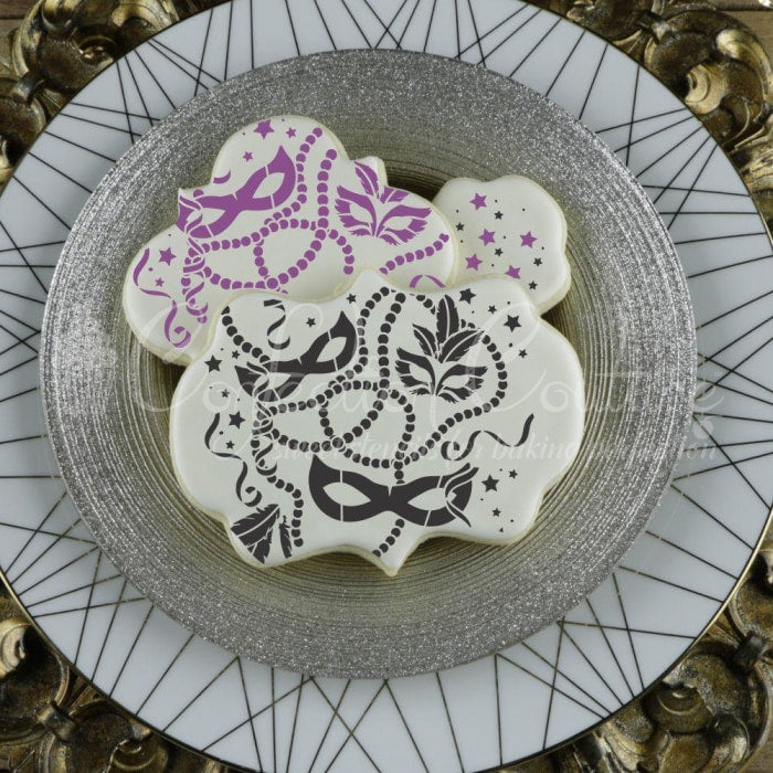 Mardi Gras Background Cookie Stencil Accents