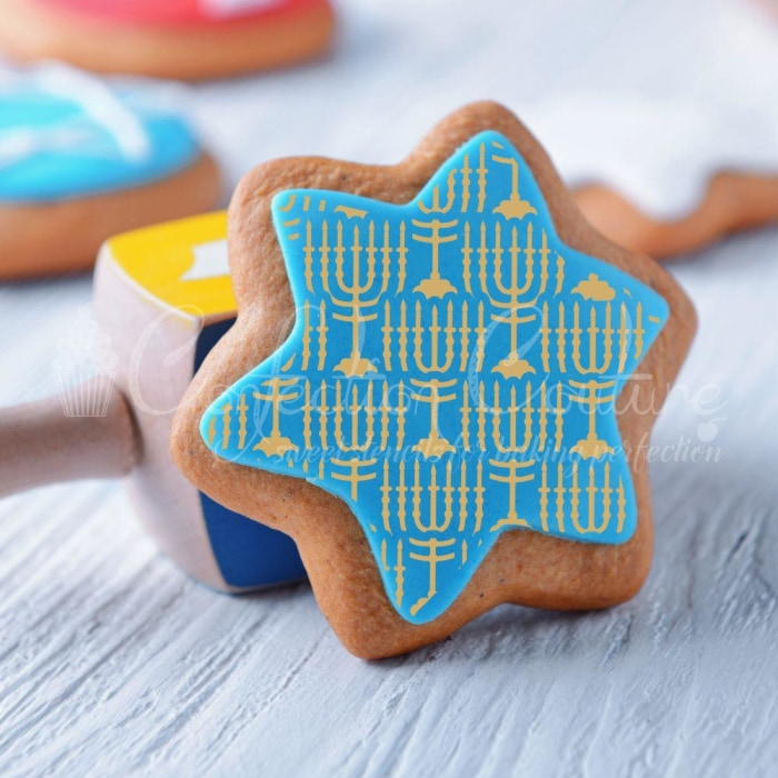 Menorah Background Cookie Stencil Background