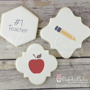 No. 1 Teacher Round Cookie Stencil 3 Pc Set
