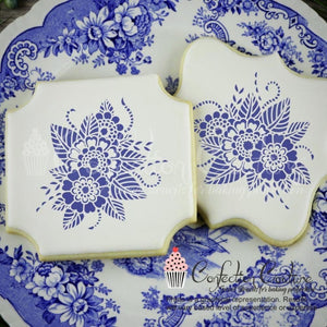 Ornamental Floral Accent Cookie Stencil Accents