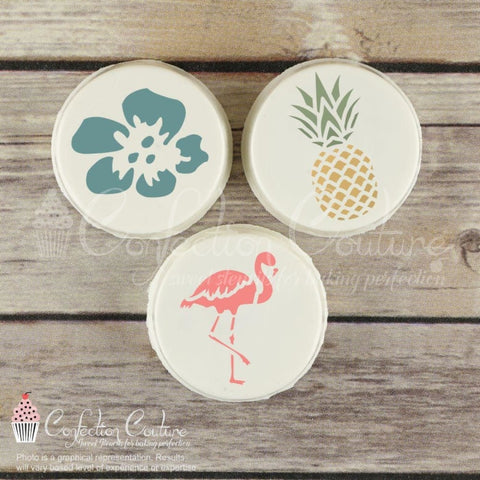 Pineapple Paradise Round Cookie Stencil 3 Pc Set 2 Inch