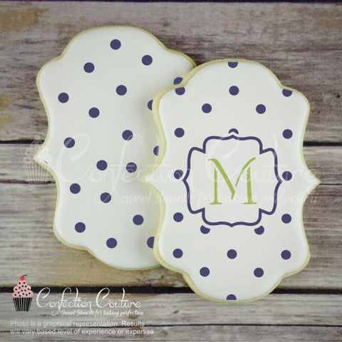 Polka Dot Monogram Background Cookie Stencil Background
