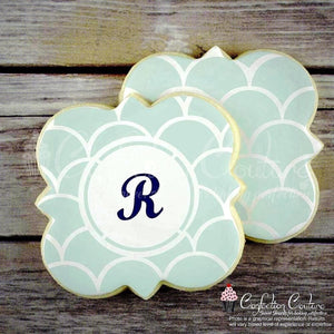 Scales Monogram Background Cookie Stencil Background