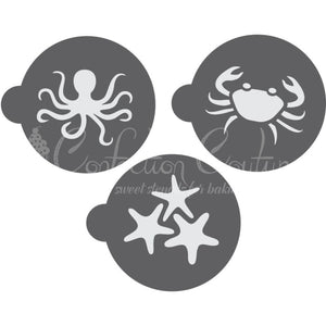 Sea Creatures Round Cookie Stencil 3 Pc Set