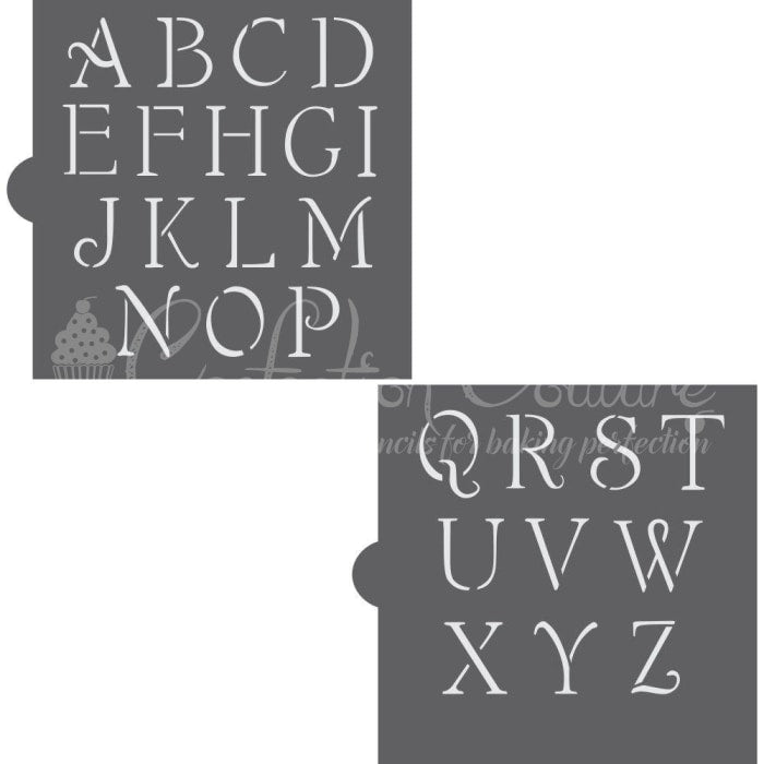 Simple Script Monogram Basic Alphabet Cookie Stencil Set Alphabet