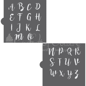 Sweetheart Swirl Monogram Basic Alphabet Cookie Stencil Set Alphabet