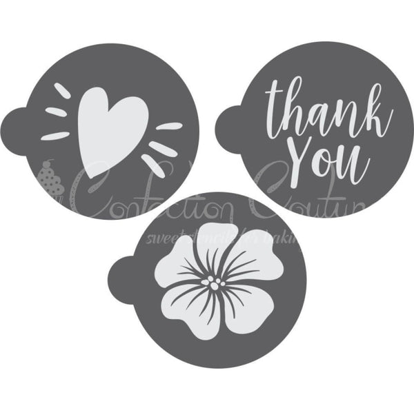 Thank You Round Cookie Stencil 3 Pc Set