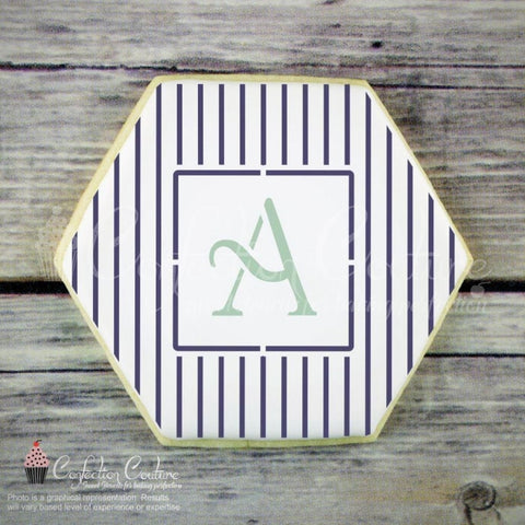 Thin Stripes Monogram Background Cookie Stencil Background