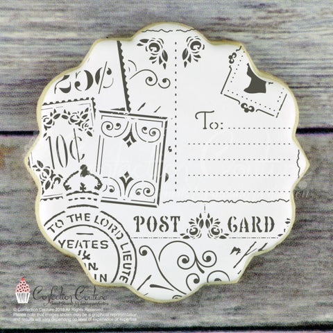Victorian Postcards Background Cookie Stencil Background