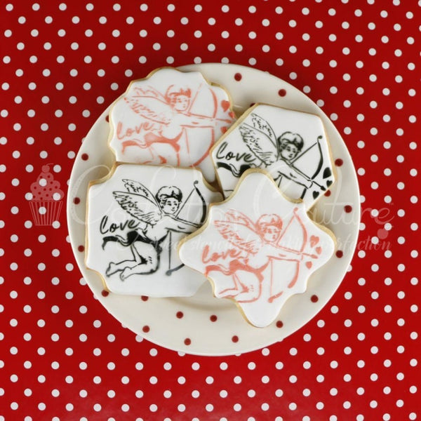 Victorian Valentines Cupid Accent Cookie Stencil Accents