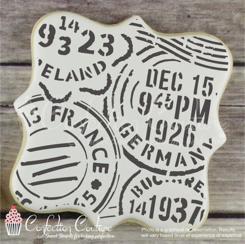 Vintage Postmark Background Cookie Stencil Background