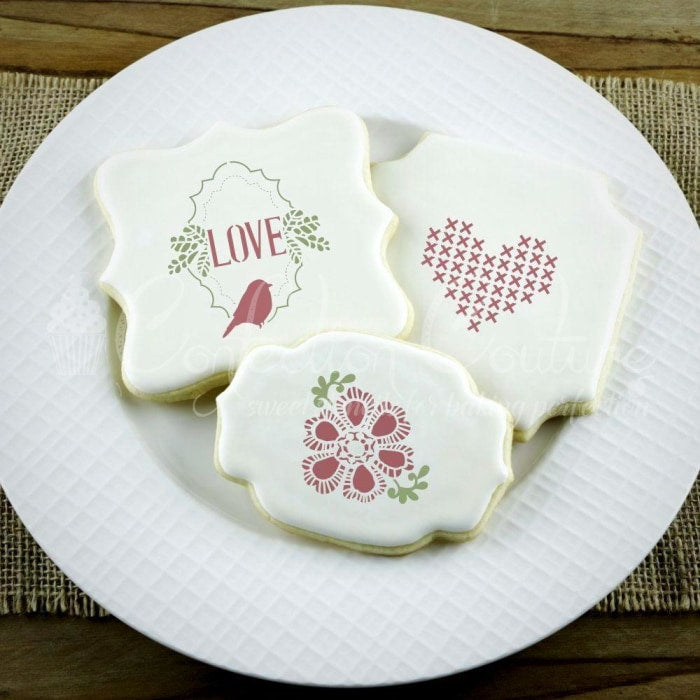 Vintage Valentines Basic Accent Cookie Stencil Accents