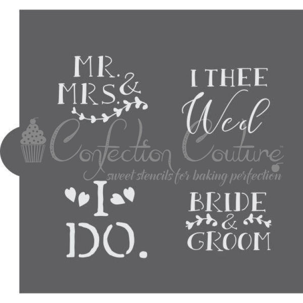 Wedding Bells Words Cookie Stencil Words