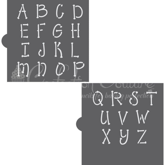 Whimsical Monogram Basic Alphabet Cookie Stencil Set Alphabet