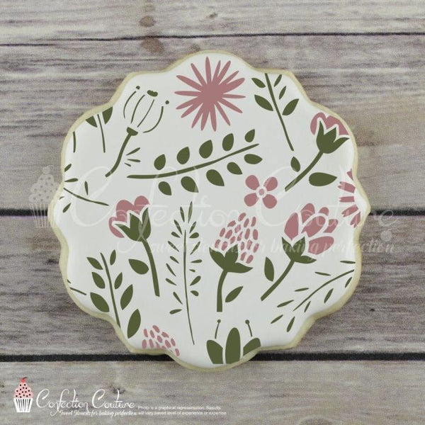 Woodland Flora Background Cookie Stencil